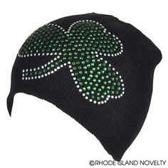 Kids love our fashionable Bling Shamrock Beanie Hat! These black hats come  with a rhinestone shamrock and are great to wear everywhere from St. Patty s  Day ... cd67b0ab0b57