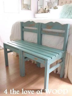 ** Find out more about A BENCH MADE FROM CHAIRS - turquoise & pine (four the love of wooden)