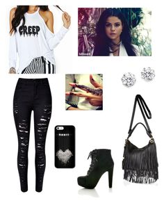 """""""Creep in Black"""" by alexaluc13 ❤ liked on Polyvore featuring WithChic, Kenneth Jay Lane and River Island"""