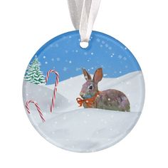 Shop Christmas, Rabbit, Snow, Candy Canes Ornament created by GrandmaDee. Horse Christmas Ornament, Candy Cane Ornament, Candy Canes, Cat Sitting, Age, Unisex, Rabbit, Snow, Holiday Decor