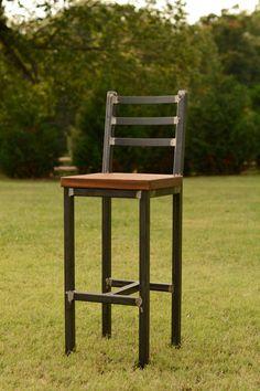 Wood and Steel Barstool Reclaimed Lumber by ElpersDesign on Etsy