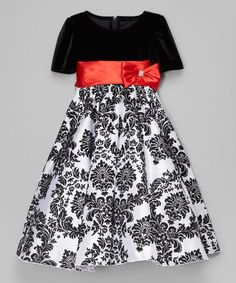 This Black & Red Damask Dress - Infant, Toddler & Girls is perfect! #zulilyfinds