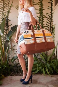 """Jennifer send her """"GPS Weekender Bag"""" The outer portion of the bag is Bound Canvas with lambskin trim.  The inner portion of the bag is lined with Wanderer fabrics. If you like this bag make sure to give it a HEART/LIKE. Re-PIN for an extra point towards this project."""