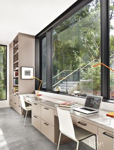 Modern White Office with Ample Natural Light