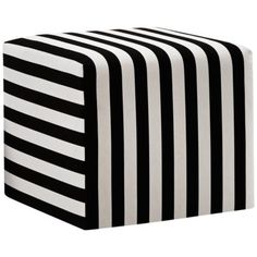 Black and White Canopy Stripe Upholstered Cube Ottoman - www.lampsplus.com