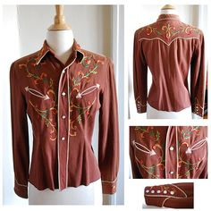 California Ranchwear Inc. Embroidered by TheWhileAway Cowgirl Shirts, Vintage Cowgirl, Desert Fashion, Dry Goods, 1940s, Blouses For Women, Leather Jacket, Style Inspiration, Tucson