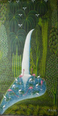 HAITIAN ART PAINTING  BY FAMOUS ARTIST HR HENRY ROBERT BRESIL - WATERFALL BIRDS #OutsiderArtFolkArt