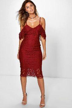 #boohoo Lace Open Shoulder Midi Dress - berry DZZ69503 #Jess Lace Open Shoulder Midi Dress - berry