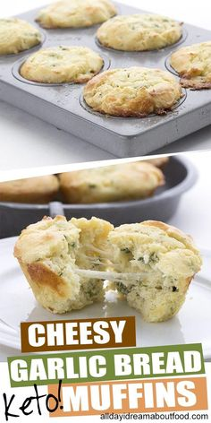 Who says muffins have to be sweet? These savory keto muffins are packed with gooey melted cheese and drizzled with garlic butter. Like cheesy garlic bread in muffin form. A delicious keto meal. No Bread Diet, Best Keto Bread, Low Carb Recipes, Whole Food Recipes, Healthy Recipes, Bread Recipes, Chili Recipes, Healthy Foods, Easy Recipes
