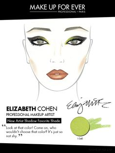 Facechart created by Elizabeth Cohen using #ArtistShadow shade I-340 Lime Green on the inner half of the eye lid for a beautiful pop of color.