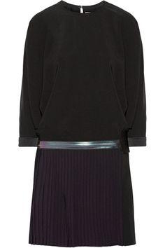 Victoria, Victoria Beckham    Pleated crepe de chine mini dress