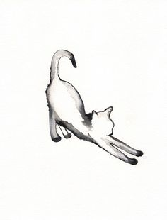 Stretching Cat / watercolor print / grey / Cat / Minimal black and white / Archival via Etsy ----or a cool tattoo???