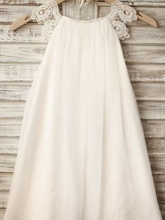 Sheath / Column Knee-length Flower Girl Dress - Chiffon / Lace Sleeveless Scoop with - USD $59.99
