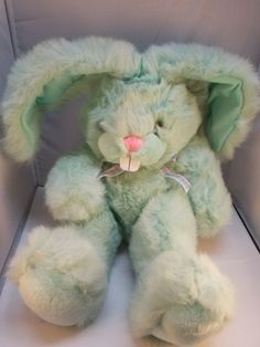 "Applause Fashion Bunny Rabbit Green Plush w/ Posable Ears 18"" #Applause"