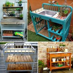 Here's a fabulous idea! Upcycle that old Baby Change Table into a potting bench. Backyard Projects, Outdoor Projects, Garden Projects, Outdoor Spaces, Outdoor Living, Outdoor Decor, Old Cribs, Baby Changing Tables, Potting Tables
