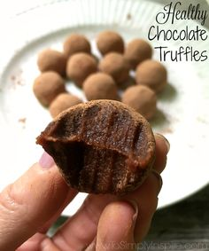 These Healthy Chocolate Truffles are completely decedent! Made with no refined sugar, butter, or oils. Just simple, delicious, melt-in-your-mouth goodness.