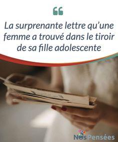 La surprenante lettre qu'une femme a trouvé dans le tiroir de sa fille adolescente  Oui, en un certain sens, je suis une adolescente #typique. J'ai quinze ans, et je tiens un journal #intime. Ce que tu es en train de lire, c'est un extrait de ce journal, qui bien sûr est #protégé par un cadenas, et caché à un endroit que tu ne pourras jamais trouver.   #Psychologie
