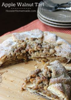 Easier than a traditional pie, this Rustic Apple Walnut Tart goes together quickly and has all the delicious flavors of Apple Pie! Pin to your Baking Board! Apple Recipes, Fall Recipes, Baking Recipes, Sweet Recipes, Just Desserts, Delicious Desserts, Dessert Recipes, Yummy Food, Yummy Treats