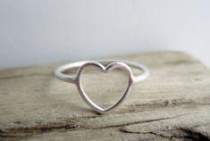 Open Heart Sterling Silver Ring by aprilandjune on Etsy, $20.00