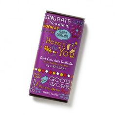 Here's to You Bar This bar says congratulations, cheers, and hooray! Dark chocolate with all natural popping candy that tickles your taste buds like a glass of bubbly.