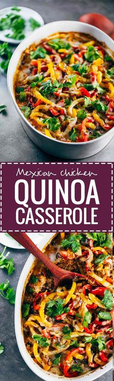 Easy Mexican Chicken Quinoa Casserole - No one can resist the warm, spicy flavors of Mexican food and at 405 calories you won't have to! This simple, healthy, chicken recipe will sure be a crowd pleaser at your next get together. Mexican Food Recipes, Real Food Recipes, Chicken Recipes, Cooking Recipes, Healthy Recipes, Dog Recipes, Beef Recipes, Chicken Spices, Dishes Recipes