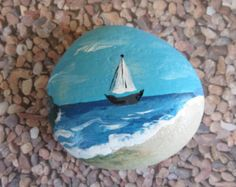 Sugar Skull Painted Caribbean Rock Pebble Stone by ArtRoxx on Etsy