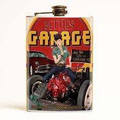 Retro-a-go-go! - Bettie Page Bettie's Garage Flask, $29.99 (http://www.retroagogo.com/bettie-page-betties-garage-flask/)