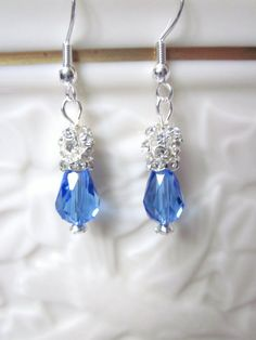 Sapphire and Crystal Earrings