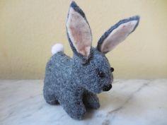 Felt bunny rabbit small stuffed bunny by WoolStreetStitchery