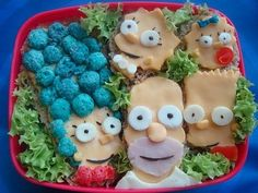 Snack On The Simpsons - Here's a school lunch that would make any child proud - it's The Simpsons on bread! We certainly never got any lunches as cool as this one, but we believe that this is a work of food art best admired, not eaten! We especially love the multiple colors and layers involved. Matt Groening, eat your heart out...  Food Art