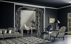 black and white living space : open layout, classy space, armchairs, accent framing, accent colour. {Bruno Tarsia}