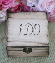 I Want This Sooo Bad! I Do Hand Engraved Wood Ring Bearer Pillow Jewelry by braggingbags, $29.99