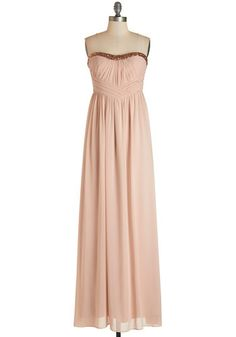 For Your Consideration Dress - Blush, Solid, Sequins, Special Occasion, Prom, Wedding, Bridesmaid, Homecoming, Maxi, Strapless, Woven, Better, Long, Sweetheart