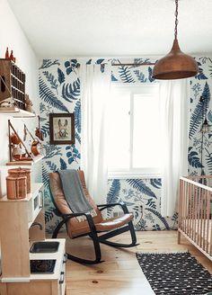 Scandinavian Inspired Nursery with Ash Wallpaper