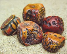 Handmade richly colored organically textured polymer clay beads by atLoganSquare.