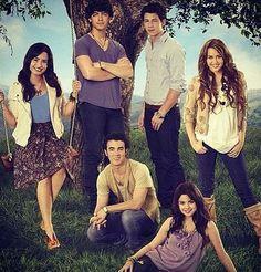 Old disney channel ; Demi lovato , the Jonas brothers, Miley Cyrus & Selena Gomez