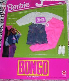 MATTEL BARBIE DOLL 1992 BONGO FASHION OUTFIT CLOTHES #3353 NIP #MATTEL