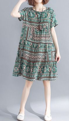 Women loose fit dress ethnic tribal flower skirt short sleeve large size casual … ~ THE PİN Casual Summer Dresses, Trendy Dresses, Women's Dresses, Fashion Dresses, Dress Casual, Dress Summer, Casual Chic, Kantha Work Sarees, Short Skirts