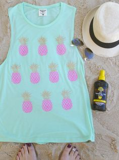 Pineapples - Tank - Mint Made out of 65% Polyester, 35% Viscose Sizing Notes .... Small - 2/4 Medium - 6/8 Large - 10/12