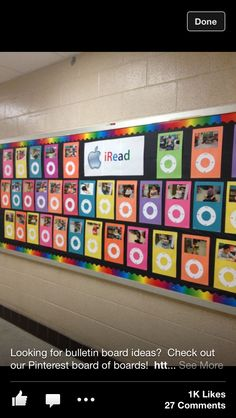 Reading bulletin boards...love this.  Must find a way to do this!  Above lockers maybe?