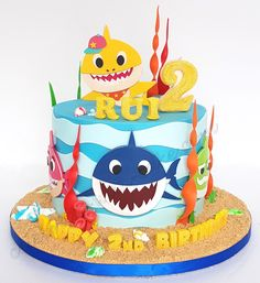 Baby shark birthday party girl pastel 17 New ideas Kids Birthday Themes, 1st Boy Birthday, 2nd Birthday Parties, Baby Cakes, Shark Birthday Cakes, Shark Party Supplies, Shark Cake, Baby Shark, Cupcakes