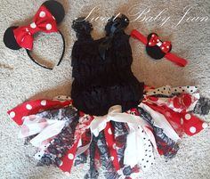 Minnie Mouse Scrappy Fabric Tutu Headband by ShopSweetBabyJean  lace romper under scrappy tutu?
