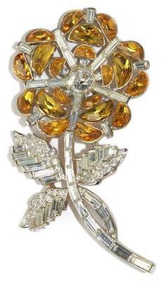 Trifari Citrine Demi  Lune Rhinestone Floral Pin Brooch 1950's