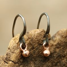 Rose gold bead earrings with oxidized sterling silver hooks Check more at