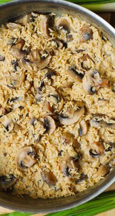 Creamy mushroom and garlic rice