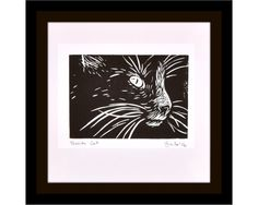 """Tuxedo Cat"" hand made lino print by Australian artist Veronica Lamb available now on Etsy #catart #petportrait"