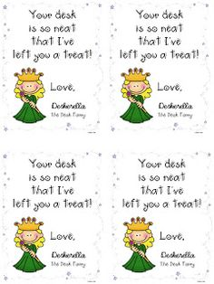 "Clean ""Desk Fairy"" Tags (freebie) by Dawn Melvin Classroom Incentives, Classroom Routines, Classroom Behavior Management, Kindergarten Classroom, School Classroom, School Fun, Classroom Ideas, School Stuff, School Ideas"