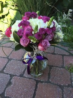 Welcome Home Bouquet for a New Mother - Deep Purple Roses, White Hydrangeas and White Ornithogalums with Chrysanthemums and Misty Blue Limonium  © Gaïa Art Floral