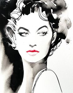 B&W Fashion Hollywood Art print Vintage Retro Salon Decor Black Ink Red Lipstick Huge Canvas Hair Ideas Watercolor Art Face, Watercolor Portraits, Watercolor Paintings, Painting The Roses Red, Black And White Painting, Ink Illustrations, Illustration Art, Surrealism Photography, Ink Art