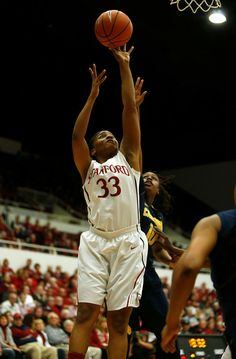 Stanford Cardinal's Amber Orrange (33) takes a shot against the University of California Golden Bears